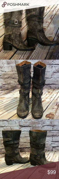 "SZ 10 NINE WEST VINTAGE AMERICA COLLECTION BOOTS These boots are fabulous. Factory distressed leather moto style boots in gently used condition. Chunky heel like cowboy boots. BOHO LOVERS... CHECK THESE OUT 3"" heel Nine West Shoes Combat & Moto Boots"