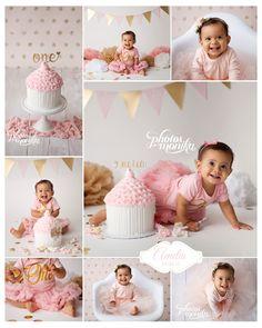 white, gold, pink, first birthday girl, cake smash