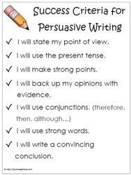 Success Criteria Persuasive Writing