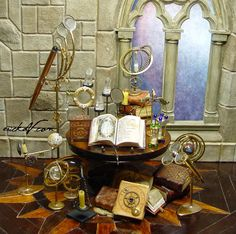 some new goodies. Please check out these links for more photos: Celestial Instruments Decorated Books . Clay Miniatures, Dollhouse Miniatures, Halloween Apothecary, Vitrine Miniature, Haunted Dollhouse, Miniature Crafts, Miniature Rooms, Tiny World, Witch House