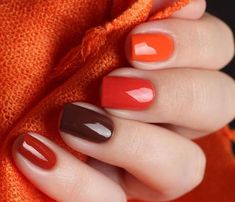 Trendy Manicure Ideas In Fall Nail Colors;Orange Nails; nails shop Trendy Manicure Ideas In Fall Nail Colors;Orange Nails; Fall Gel Nails, Fall Manicure, Autumn Nails, Winter Nails, Manicure And Pedicure, Manicure Ideas, Fall Nail Ideas Gel, Fall Nail Art Autumn, Shellac Nails