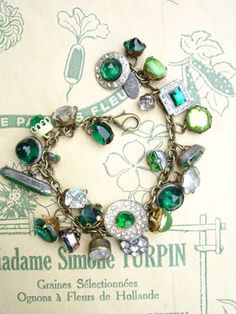 Almost All Greens Vintage Colored Button Bracelet This bracelet has all vintage rhinestone buttons in shades of green and a few clear ones, too! Each button is different! ...