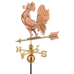 Crowing Rooster Polished Copper Weathervane