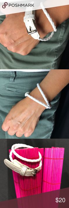 "Bohemian white Bracelet White bohemian strap rope with a watch buckle. Adjustable. Can wrap it around twice.  Unwrapped length: 17 1/2"" Pair with more bracelets as seen in pic1 those are not included. Pieces4you Jewelry Bracelets"
