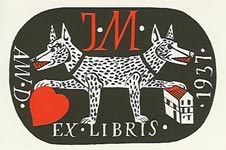 {Bookplate by Marie Jancakova, Czech artist}