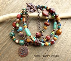 Trees. Stone, Czech glass, chain, Indonesian glass, seed beads, copper bracelet.  #jewelry #boho #bohemian