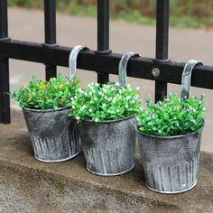 1 5 Pcs Vintage Metal Hanging Planters Garden Pot Flower Container Basket Home