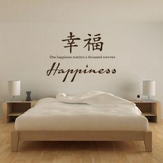 Happiness Chinese Proverb Wall Sticker Chinese Symbol Wall Art