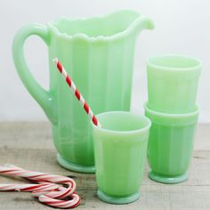 In the mid jadeite - a minty green glassware - was commonly sold in general stores and hardware stores. We are thrilled to offer up top quality reproduction pieces handmade in the USA that are Antique Glassware, Vintage Kitchenware, Vintage Dishes, Vintage Items, Vintage Pyrex, Vintage Stuff, Green Milk Glass, 1950s Decor, Green Kitchen