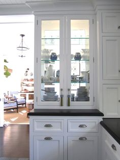 """Classic"""" Beach Kitchen Part Two {Double Sided Glass China Cabinet} for in between a kitchen and dinning room?{Double Sided Glass China Cabinet} for in between a kitchen and dinning room? Glass Kitchen, Kitchen Redo, New Kitchen, Kitchen Remodel, Kitchen Cabinets, Glass Cabinets, China Cabinets, Glass Shelves, Open Cabinets"""