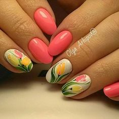 Tuilp flower white green yellow coral simple elegant nail art spring 2017 - Education and lifestyle Simple Elegant Nails, Elegant Nail Art, Art Simple, Simple Nails, Yellow Nails Design, Yellow Nail Art, Spring Nail Art, Spring Nails, Tulip Nails