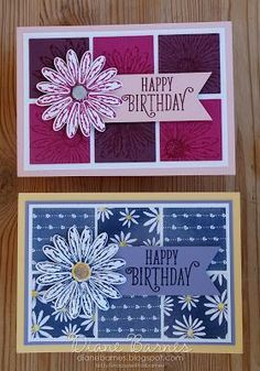 handmade daisy birthday cards using Stampin Up Daisy Delight stamp set, daisy punch & Stitched Shapes dies. Card by Di Barnes #colourmehappy 2017-18 Annual Catalogue