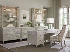 Create a posh and luxurious office with the Lexington Home Brands Sligh Greystone Avery Executive Desk . Perfect for updating your home office, this. Home Office Design, Home Office Decor, Home Decor, Bedroom Office, Attic Office, Office Designs, Office Spaces, Work Spaces, Design Furniture