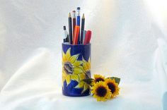 Ceramic Sunflower Pencil Holder great accessory for desk organization!