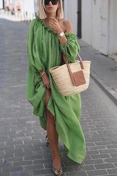 Lace-Up Oblique Collar Lantern Sleeve Plain Womens Maxi Dress - Look Fashion Casual Dresses, Fashion Dresses, Summer Dresses, Maxi Dresses, Women's Casual, Summer Maxi, Casual Clothes, Holiday Dresses, Cheap Clothes
