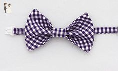 Children's Purple Gingham Bow Tie, adjustable clip-on - Groom fashion accessories (*Amazon Partner-Link)