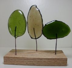Recycled Upcycled Glass Tree Trio Green Grey whimsical Modern Rustic on Etsy, $27.00