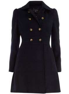 Navy fit and flare coat         This navy coat with its fit and flare style creates a lovely silhouette. It is double breasted with traditional brown buttons. The fitted style means that you can look feminine and chic in the colder months, no matter how many layers you are wearing. Team with a chunky knit and think tights for a cosy but stylish look.    Centre back measures 90cm. 82% Polyester,15% Viscose,3% Elastane. Machine washable.    Model/Mannequin is 5'10 (177.8cm) and wears a size 4.