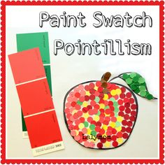 Pointillism for Kids Art Project Using Recycled Paint Swatches from Lalymom- Fine Art meets Fine Motor skills!