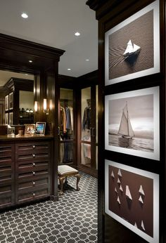 masculine interior traditional closet by Miller & Wright Architects