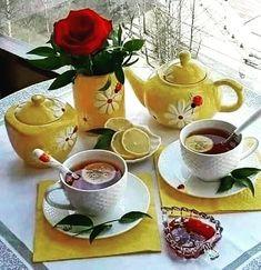 Coffee Is Life, Coffee Love, Drink Coffee, Chocolates, Prayer Breakfast, Yellow Cups, Tea Art, High Tea, Morning Coffee