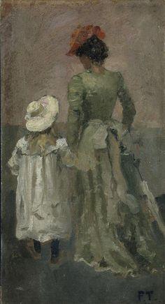 Alexandra Thaulow with Ingrid  by  Fritz Thaulow