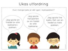 ukas utfordring, matematikk, problemløsning, frk linn Teaching Math, Maths, Brain Teasers, Norway, Education, School, Cute Kids, First Grade, Mind Games