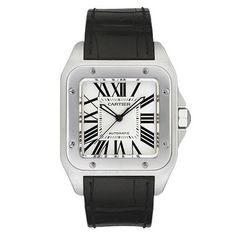 Cartier SANTOS 100, Steel case, steel octagonal crown set with a faceted synthetic spinel, sapphire crystal, silvered opaline dial, Roman numerals, luminescent sword-shaped black oxidised-steel hands, alligator-skin strap, specific Santos 100 steel double adjustable deployant buckle, mechanical movement with self-winding Cartier calibre 049, water-resistant to 100 metres. Case dimensions: 51.1 mm x 41.3 mm, 10.34 mm thickness.