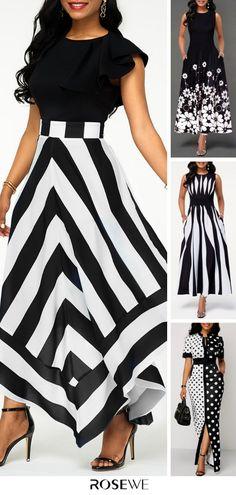 Hot Sale & Back Zipper Asymmetric Hem Chevron Print Maxi Summer Cute Black Women Chic Dress Look Fashion, Girl Fashion, Fashion Design, Spring Fashion, Dress Outfits, Fashion Dresses, Latest Fashion For Women, Womens Fashion, Chic Dress