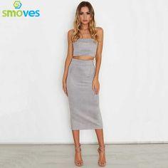 SMOVES Womens Vintage Strapless High Waist Midi Length Suede Dress 2 Pcs Bodycon Dress Set Vestidos GD372