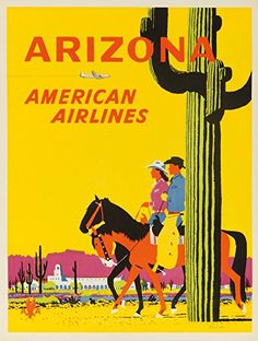 American Airlines - Arizona Vintage Poster | USA c. 1955 (9x12 Collectible Art Print, Wall Decor Travel Poster) #affiliate