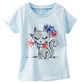 A cute kitty is full of American spirit in this fun tee. Sugar glitter firework details will make it her favorite.