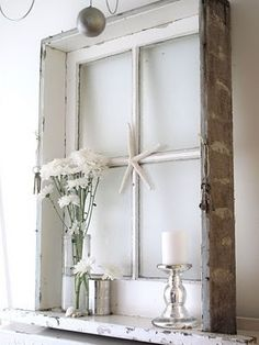 Old Window Frame- Would be great to add a small shelf to our window frame.. or attach it to wooden boxes were making into shelves..