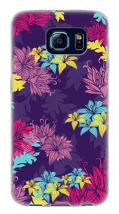 Amazon.com: Springtime Abstract Flowers} Soft and Smooth Silicone Cute 3D Fitted Bumper Back Cover Gel Case for Samsung Galaxy S6 {Color is Purple, Pink and Yellow}: Cell Phones & Accessories