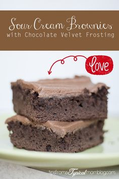 Sour Cream Brownies with Chocolate Velvet Frosting. So easy because you start with a brownie mix. These taste completely homemade and the frosting is PERFECT! #dessert #brownies #chocolate