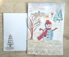 """Carte """"village sous la neige"""" avec enveloppe assortie."""