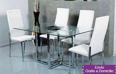 399€ Conjunto compuesto por mesa con tapa de cristal y 4 sillas tapizadas en blanco o negro Deskontalia Planes Gipuzkoa - Descuentos en Gipuzkoa del 70%. Ofertas en Gipuzkoa.