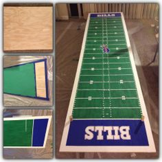 """Make a beer pong table (or just a nice long table) from 2 2'x4' pieces of sanded plywood and paint with favorite team's field/court. Football field scales 1 YD to 3/4""""."""