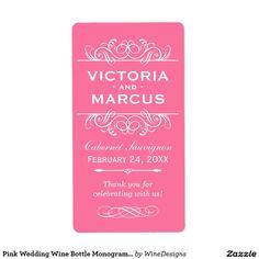 Pink Wedding Wine Bottle Monogram Favor Labels