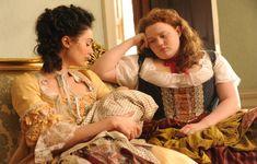 Poppy Corby-Tuech as Marie-Louise D'Aubigne and Bronwyn Jamesas  Fanny Lambert in Harlots (2017)