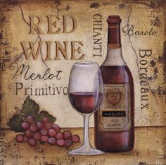 "Wine Bottle & glass Art - ""Red Wine"" by Kim Lewis #grapes #map ( Vintage Typography)"