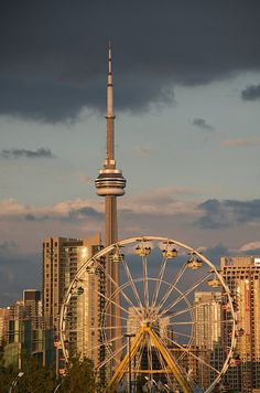 CNE ferris wheel.  CN tower-Toronto