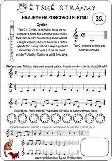 Škola hry na zobcovou flétnu zdarma - LEKCE 35. Sheet Music, Music Sheets