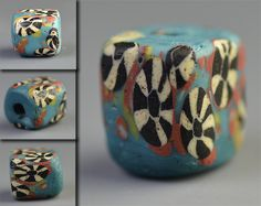 Love this gorgeous glass bead. Colors are amazing vivid and modern in its aesthetic. Not sure where it's from or exactly when, but probably at least years old! Glass Beads, Antiques, Amazing, Colors, Modern, Collection, Vintage Pearls, Ethnic, Antiquities