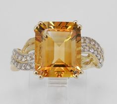 RESERVED Emerald Cut Citrine White Sapphire Engagement Promise Ring Yellow Gold Size 7