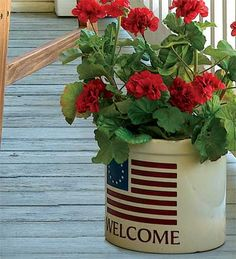 Americana Welcome Crock--I want one for my front porch with the red geraniums and all!
