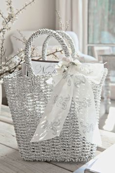 lovely white cane basket