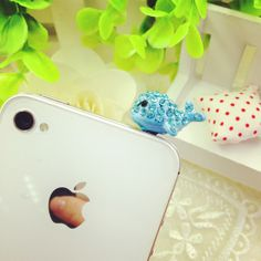 Blue Whale Rhinestone Crystal 3.5mm Jack Earphone Anti-dust Plugs Cap Charm for iPhone/HTC/Samsung ,Best personalized gifts for him or her on Yoyoon.com