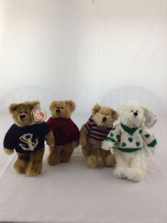 e960bb047a0 Adorable Lot Of 4 Ty Beanie Baby Bears With Sweaters Stuffed Plush Animal  Toys  Ty
