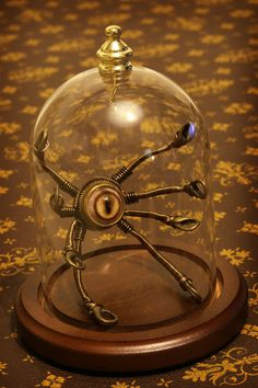 Little Steampunk Robot in Glass Dome by CatherinetteRings.deviantart.com on @deviantART